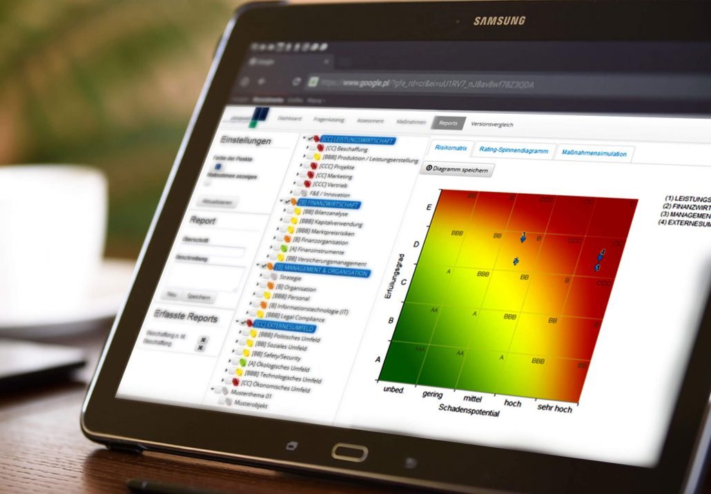 Laptopbildschirm Risikomanagement Software mit der mf-methode